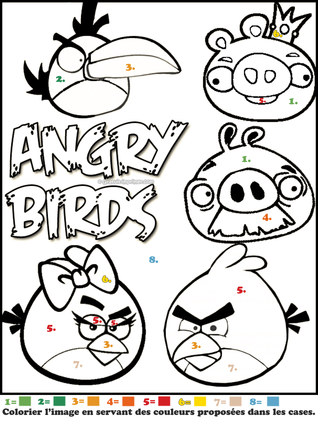 Angry birds colorier a - Dessin a colorier angry bird ...